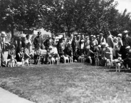 Group photograph with dogs at dog show