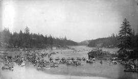 Indian canoe race in Gorge, Victoria, B.C., May 24th 1890