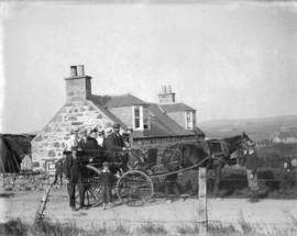 "[Unidentified group beside ""Knows of Elrick"" in Maroch, Banffshire the childhood home o..."