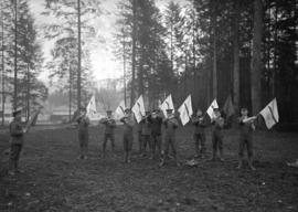 29th Battalion and Yukon Detachment [men practicing with signal flags]