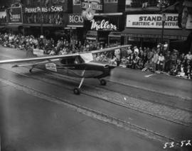 Vancouver U-Fly taxiing plane in 1953 P.N.E. Opening Day Parade