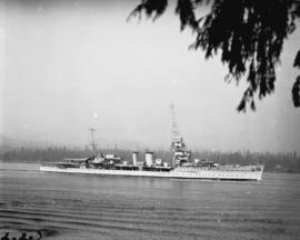 "Royal Navy ""D"" class light cruiser entering Burrard Inlet"