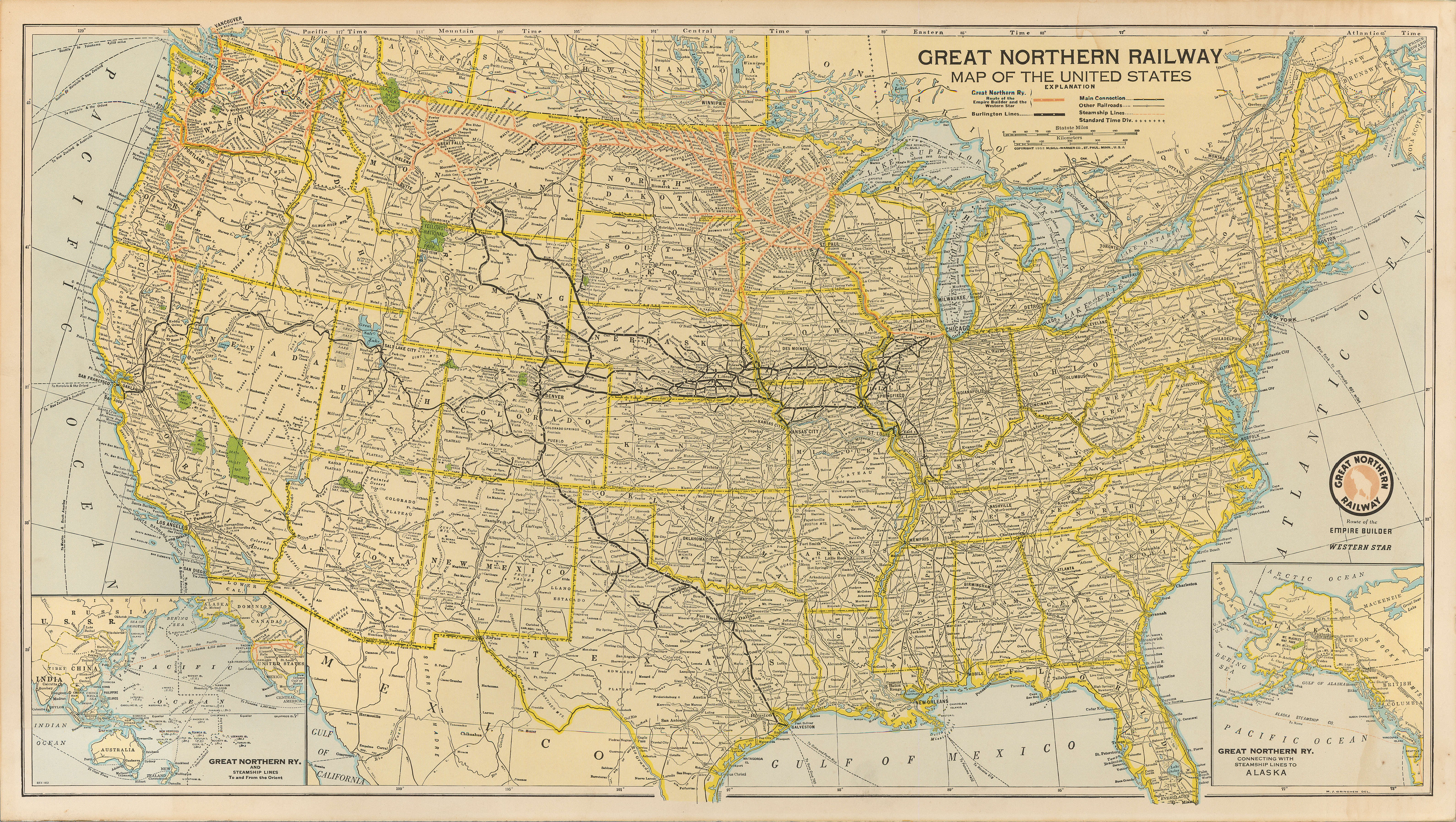 Image of: Great Northern Railway Map Of The United States City Of Vancouver Archives