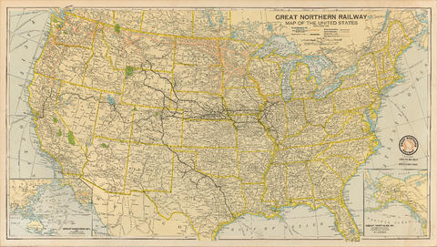 Great Northern Railway. Map of the United States - City of ...