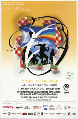 Vancouver Pride Society and Vancity present Pride 2008 : picnic in the park : Saturday, July 26, ...