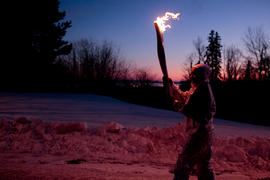 Day 66 Torchbearer 53 Kailie Kernaghan-Keast carries the flame up to the Terry Fox Monument in Th...