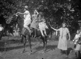 Three girls on a horse, two standing beside
