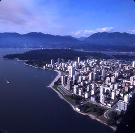 Aerial view of Vancouver : English Bay in foreground, looking north and north west to West End, S...