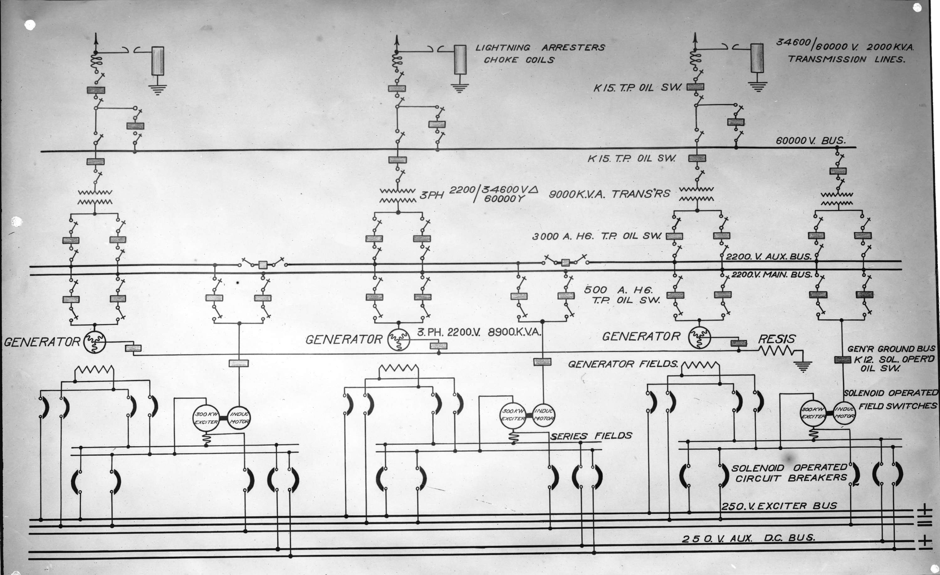 Diagram of electrical connections for Buntzen Lake Power Plant