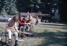 Children practicing archery at Camp Capilano