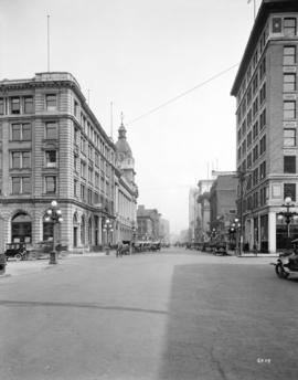 [View of Hastings Street at Howe Street, looking west from the Winch Building]