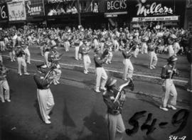 Military band marching in 1954 P.N.E. Opening Day Parade