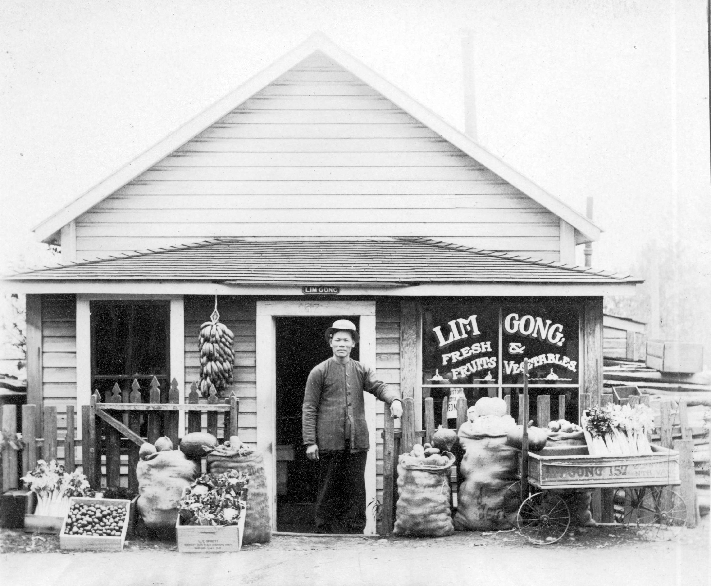 Exterior of Lim Gong fresh fruits and vegetable store at 157 - 2nd Street. Photo Courtesy: City of vancouver Archives; CVA Bu P670