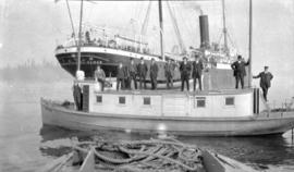 "S. S. ""Komagata Maru"" [and tugboat with officials]"