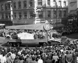 Vancouver Kiwanis Club float in 1947 P.N.E. Opening Day Parade
