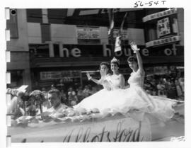 Miss Abbotsford in decorated car in 1956 P.N.E. Opening Day Parade