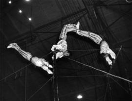 Trapeze artists performing in P.N.E.-Shrine Circus in P.N.E. Forum