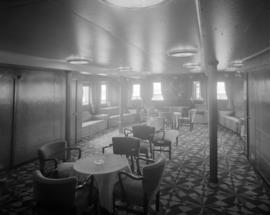 [Interior view of a lounge on board a ship]
