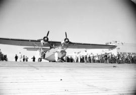 [Launch of first PBY Catalina produced at the Sea Island Boeing plant]