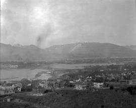 [View of False Creek looking north showing Connaught (Cambie Street) Bridge]
