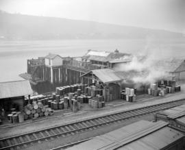 [B.A. Oil company plant showing wharf and train tracks]