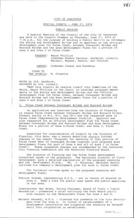 Special Council Meeting Minutes : June 27, 1974