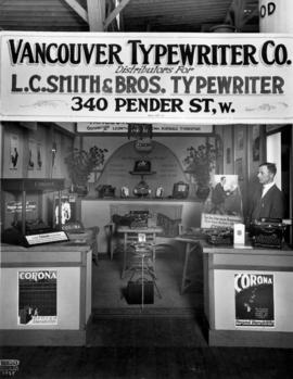 Vancouver Typewriter Co. display of Corona typewriters