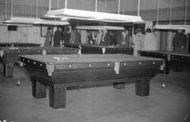 [People gathered in the billiards room at the Burrard Servicemen's Centre, 636 Burrard Street]