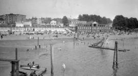 [View of English Bay Beach and bathhouses]