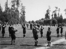 Boy Scouts and Wolf Cubs saluting Governor General at Ceperley Playgrounds