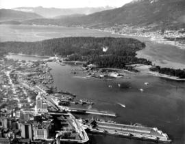 Aerial view of Coal Harbour and Stanley Park