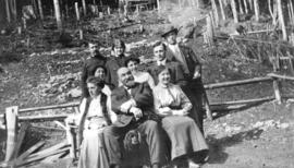 [The Trythall family in clearing near cabin on Grouse Mountain]