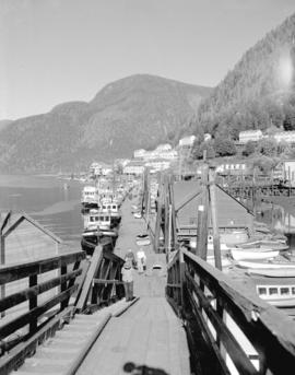 [View of Ocean Falls, B.C. waterfront, buildings and marina]