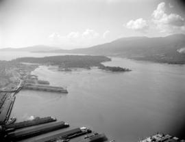 [Aerial view of Vancouver showing CPR piers, Coal Harbour, and Stanley Park]