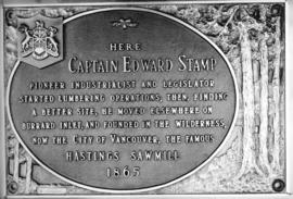 [Plaque commemorating Captain Edward Stamp and Hastings Sawmill]