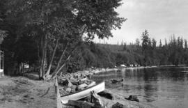 [View of rowboats along beach shore]