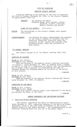 Council Meeting Minutes : Nov. 24, 1970