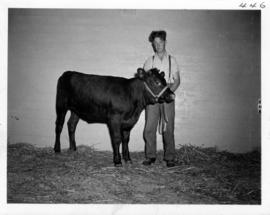 Youth with calf in Livestock building