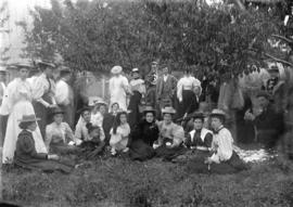 [Group assembled for picnic outside Tom Turner's cottage, Moodyville (North Vancouver)]