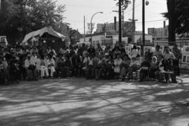 Audience watching a performance at the 1977 Powell Street Festival