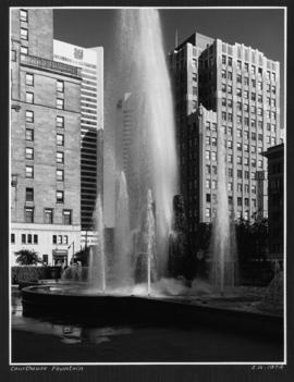 Court House Fountain [at West Georgia and Howe Streets, Hotel Devonshire in the background]