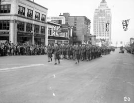 Women marching in World War II parade on Burrard Street
