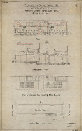 Drainage and electrical wiring plan, for public convenience, Hamilton Street, Vancouver B.C.