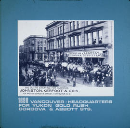 Vancouver headquarters for Yukon gold rush, Cordova and Abbott Streets