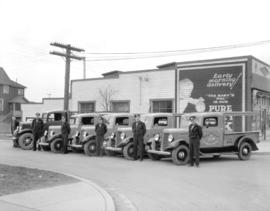 Hilton Dairy fleet of trucks and drivers [beside 6395 Fraser Street]