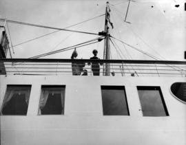 "[George VI and Queen Elizabeth on board S.S. ""Princess Marguerite""]"