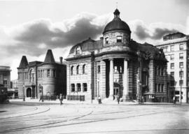 [City Hall and Carnegie Public Library buildings at Main and Hastings Streets]
