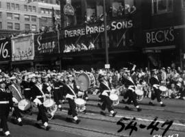 H.M.C.S. Naden band marching in 1954 P.N.E. Opening Day Parade