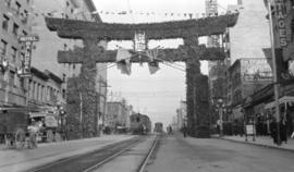 [Japanese arch near Hastings Street and Main Street erected for visit of Duke and Duchess of Conn...