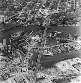[Aerial view looking north over] Granville Island